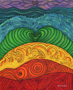 Chakra Rainbow Painting Prints - Chakra Ascension Print by Deborha Kerr