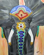 Chakra Paintings - Chakra Elephant by Susan Snow Voidets