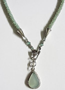 Sterling Silver Art - Chalcedony Kumihimo  by Jennie Breeze