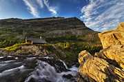 Swiftcurrent Falls Posters - Chalet at the falls Poster by Mark Kiver