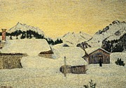 Village In Europe Framed Prints - Chalets in Snow Framed Print by Giovanni Segantini