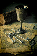 Rosary Prints - Chalice and Keys Print by Jill Battaglia