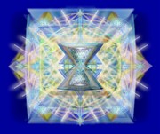 Sacred Geometry Framed Prints - ChaliCell Matrix Rainbow Cross of Light Framed Print by Christopher Pringer