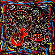 For Musicians Paintings - Chalkboard Guitar Original Painting by Eric Drury by Eric Dru Stephenz Drury