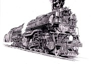 Train Drawings Originals - Challenger Locomotive by Nick Naethuijs