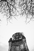 Hoa Framed Prints - Cham Temple Tower on Nhan Mountain - Tuy Hoa - Vietnam Framed Print by Hoang Tran