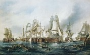 Battle Of Trafalgar Metal Prints - Chambers, George 1803-1840. Battle Metal Print by Everett