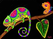 Chameleon Prints - Chameleon and Ladybug Print by Nick Gustafson
