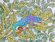 Chameleon Paintings - Chameleon by Katherine Young-Beck