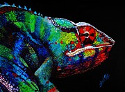 Neon Effects Painting Originals - Chameleon by Shirl Theis
