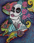 Sugar Skull Paintings - Chameleon Sugar Skull by Laura Barbosa