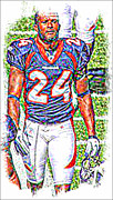 Denver Broncos Mixed Media Posters - Champ bailey Poster by Michael Knight