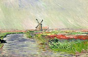 Water Mill Images Prints - Champ de tulipes en Hollande Print by Claude Monet