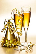 Champagne Glasses Posters - Champagne and New Years party decorations Poster by Elena Elisseeva