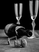 Glasses Photos - Champagne Bottle Still Life by Edward Fielding