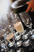 Wine Pouring Prints - Champagne Flutes Print by Paul Clavel