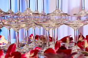 Close Up Glass Art Metal Prints - Champagne Glass Metal Print by Niphon Chanthana