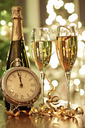 Bubbly Posters - Champagne glasses ready to bring in the New Year Poster by Sandra Cunningham