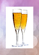 Sparkling Wine Framed Prints - Champagne in glasses Framed Print by Elena Elisseeva