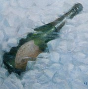 Bottle Paintings - Champagne on ice by Lincoln Seligman