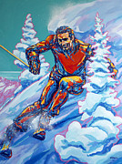 Ski Painting Originals - Champagne Powder by Derrick Higgins