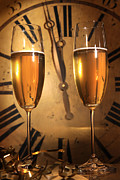 Wine Pour Posters - Champagne ready to bring in the New Year Poster by Sandra Cunningham