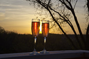 Wine Glasses Posters - Champagne Sunset Poster by Kay Pickens