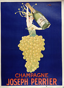 Champagne Metal Prints - Champagne Metal Print by Vintage Images