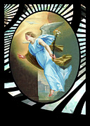 Annunciation Digital Art Framed Prints - Champaigne Vintage Angel Framed Print by Robert G Kernodle