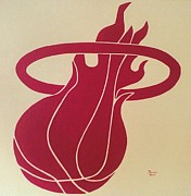Miami Heat Painting Originals - Champions Hot Pink on White by Dawn Iraci