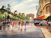 Gaul Paintings - Champs Elysees and Arc De Triomphe by Bill Holkham