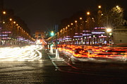 Elysees Posters - Champs-Elysees and Arc de Triomphe Poster by Sami Sarkis