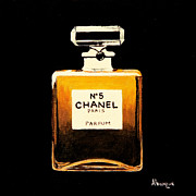 Glass Bottle Paintings - Chanel No. 5 by Alacoque Doyle