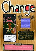 African-american Mixed Media Framed Prints - Change - Handmade Card Framed Print by Angela L Walker