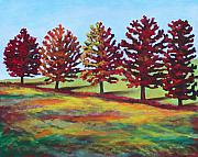 Autumn Trees Painting Posters - Changing in Harmony Poster by Eve  Wheeler