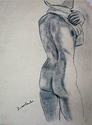 Nude Woman Charcoal Drawing Framed Prints - Changing Framed Print by Kendall Kessler