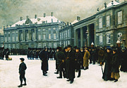 Spectators Paintings - Changing of the Guard at Amalienborg Palace by Paul Fischer