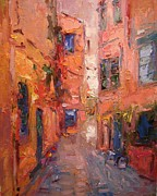 Crete Painting Originals - Chaniastrada Crete by R W Goetting