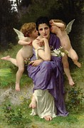 Putti Paintings - Chansons de Printemps by William Adolphe Bouguereau