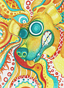 Boxer Dog Drawings Prints - Chaotic Canine Print by Shawna  Rowe