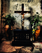 Metal Print Mixed Media Framed Prints - Chapel at the Mission Concepcion Framed Print by Gerlinde Keating - Keating Associates Inc
