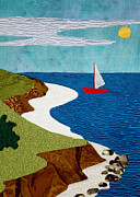 Machine Quilting Tapestries - Textiles Prints - Chapel Cay Print by Jean Baardsen