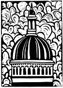Block Print Mixed Media - Chapel Dome by Kristin Cronic