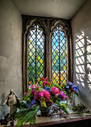 British Digital Art Prints - Chapel Flowers Print by Adrian Evans