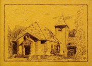 Parchment Drawings Prints - Chapel I Barksdale AFB Print by Tony Ramos