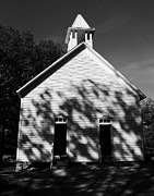 Chapels Framed Prints - Chapel In The Woods BW Framed Print by Mel Steinhauer
