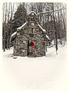 Wreath Prints - Chapel in the Woods Stowe Vermont Print by Edward Fielding