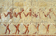 Hathor Posters - Chapel of Hathor Hatshepsut Nubian Procession Soldiers - Digital Image -Fine Art Print-Ancient Egypt Poster by Urft Valley Art