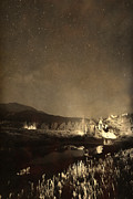 Stary Sky Posters - Chapel On the Rock Stary Night Portrait Monotone Poster by James Bo Insogna
