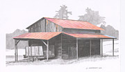 Tin Roof Drawings Framed Prints - Chapin Barn Framed Print by Paul Shafranski